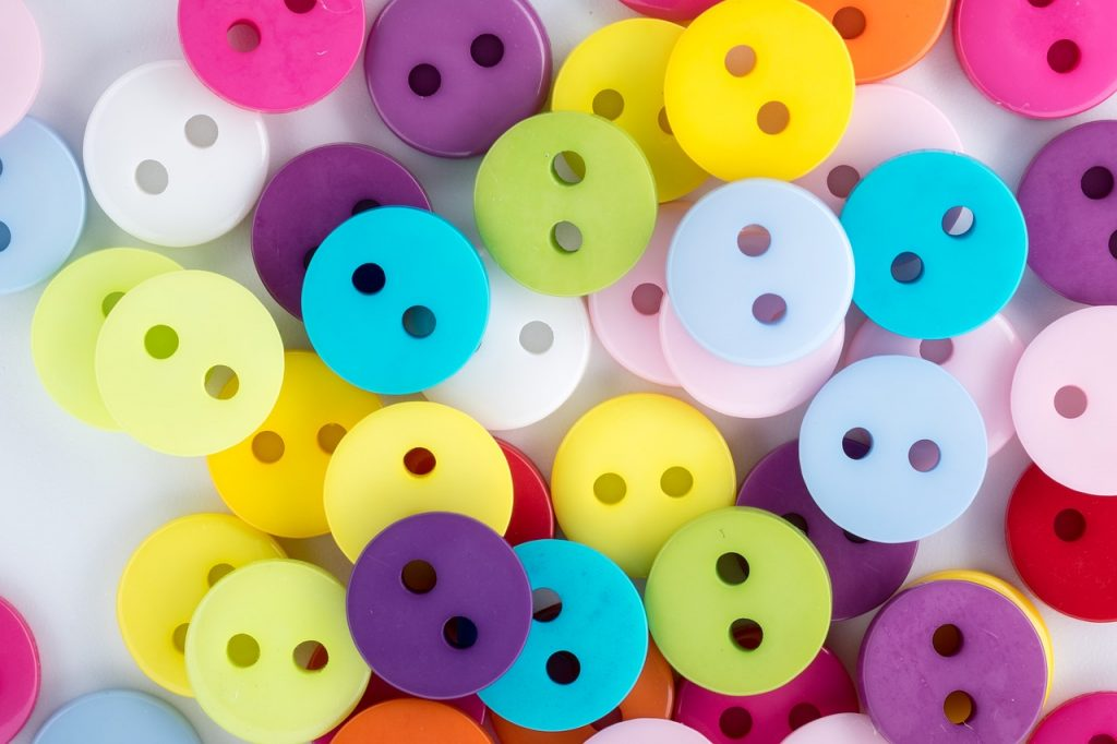 Display of colorful plastic buttons
