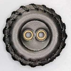 Black leather button with gromments
