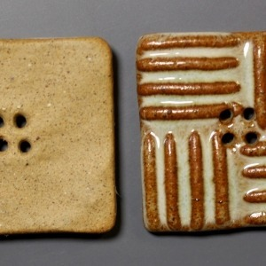 Square clay button with brown stripes showing front and back of button