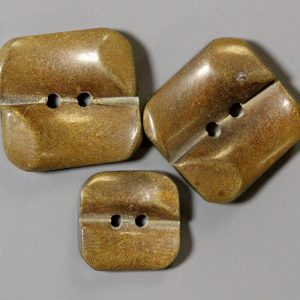Three Brown two hole square horn button